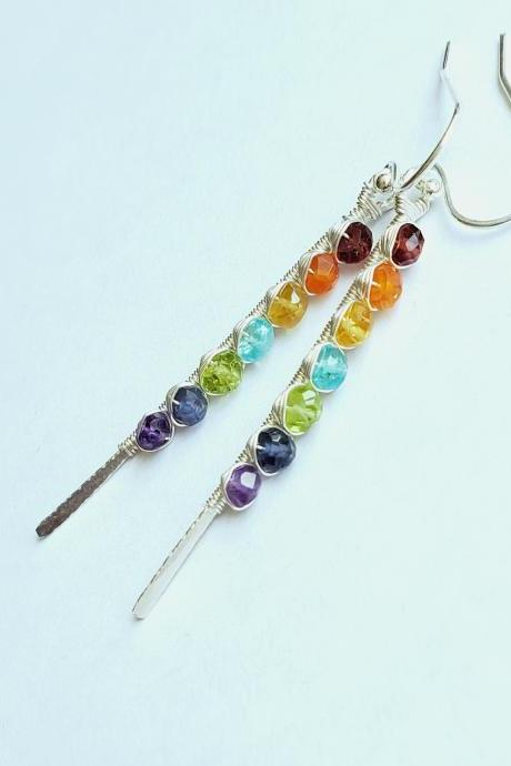 Natural rainbow gemstone garnet, carnelian, yellow sapphire, teal appetite, peridot, iolite, amethyst. sterling silver handmade spike earrings.